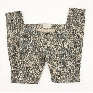 Current/Elliot Snakeskin Print Skinny Jeans 25